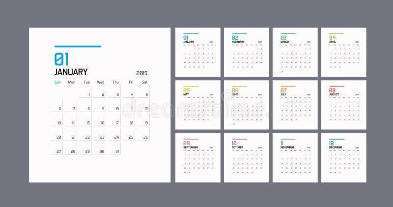 Moderne minimale Kalender-Planer-Schablone für 2019 Editable Schablone des Vektordesigns vektor abbildung