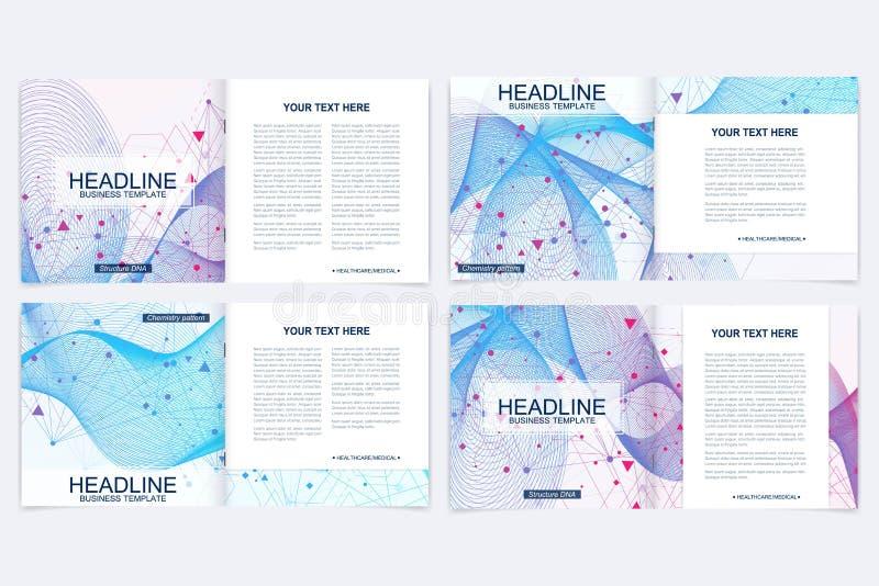 Moderne minimale vector het ontwerpmalplaatjes van de lay-outdekking voor vierkante brochure of vlieger Wetenschappelijk concept  vector illustratie