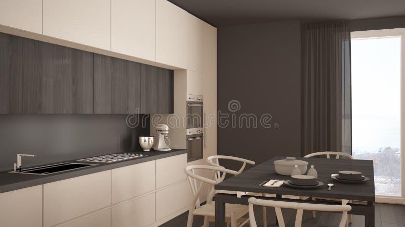 Moderne Minimale Witte Keuken Met Houten Vloer, Klassiek Binnenland Stock Foto   Afbeelding