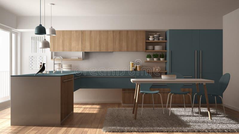 Moderne minimalistic hölzerne Küche mit Speisetische, Teppich und panoramischer Innenarchitektur der Fenster-, weißer und Blauera stock abbildung