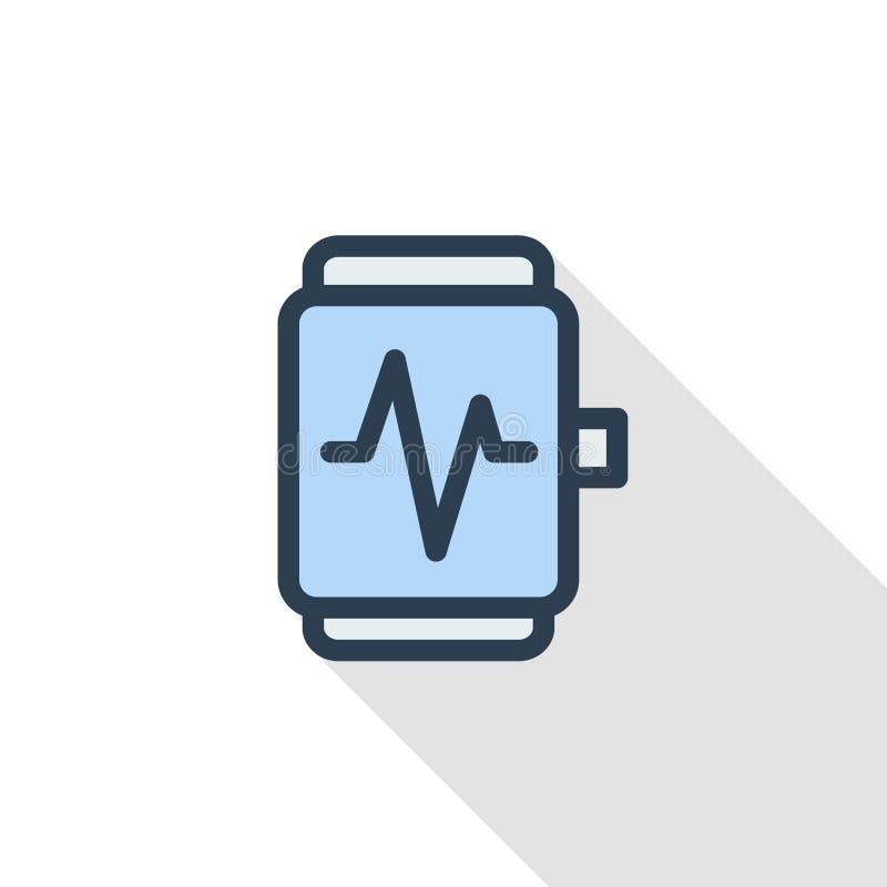 Moderne mobiele apparaat van het sport het slimme horloge met van de de monitor dun lijn van het impulsonderzoek vlak de kleurenp vector illustratie
