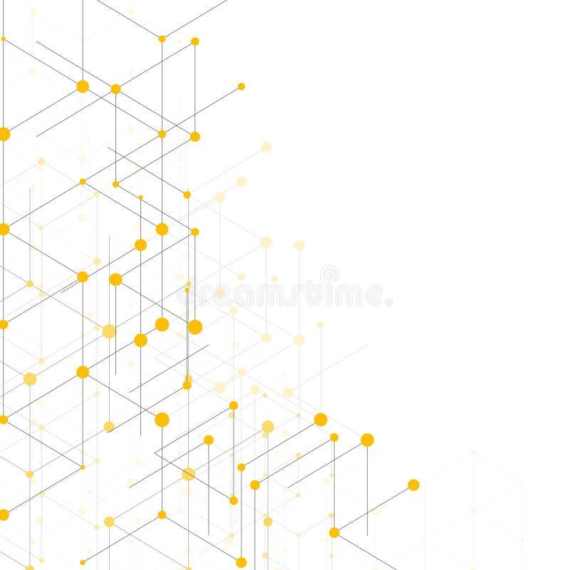 Moderne modèle de schéma avec les canalisations de raccordement sur le fond blanc Structure de connexion Graphique géométrique ab illustration stock