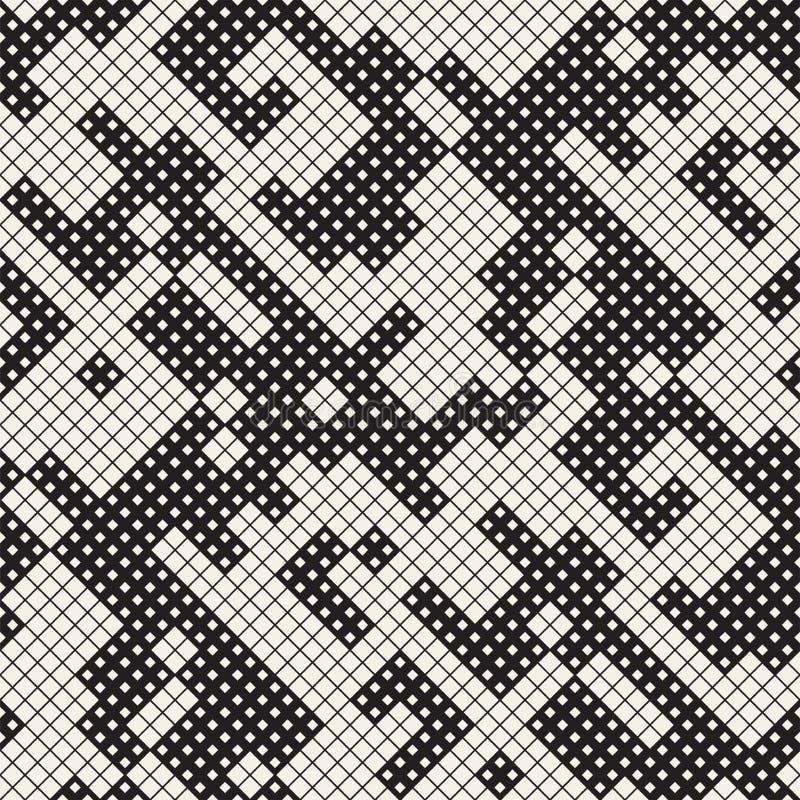 Moderne Modieuze Halftone Textuur Abstracte Achtergrond met Willekeurige Groottevierkanten Het vector Naadloze Chaotische Patroon royalty-vrije stock foto