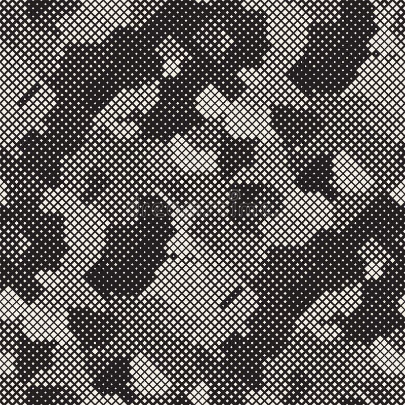 Moderne Modieuze Halftone Textuur Eindeloze Abstracte Achtergrond met Willekeurige Groottevierkanten Het vector Naadloze Patroon  royalty-vrije stock afbeeldingen
