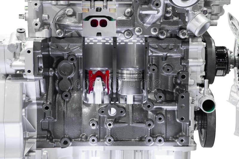 Moderne motor van een autodwarsdoorsnede royalty-vrije stock afbeelding