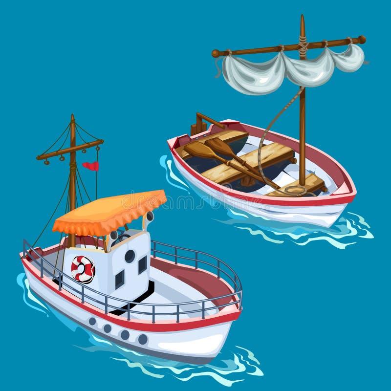 Moderne motorboot en varende houten boot op water royalty-vrije illustratie