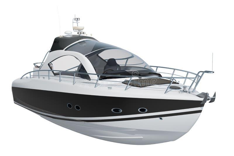 Moderne motorboot, het 3D teruggeven stock illustratie