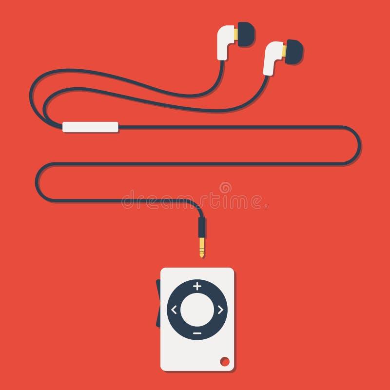 Moderne mp3 speler met oortelefoons in vlakke stijl vector illustratie