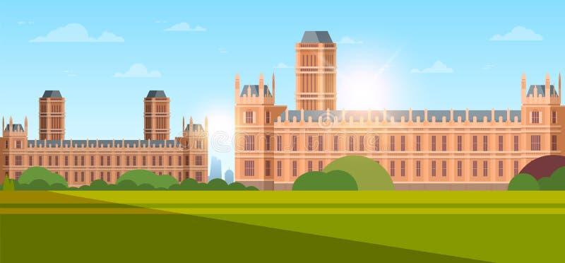 Moderne nationale Universität oder Hochschule Außenansicht leerer Garten mit grünem Gras und Bäumen Bildung lizenzfreie abbildung
