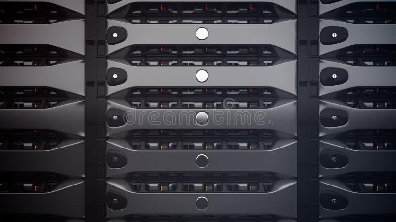 Moderne Netzwerk-Server in einem Rechenzentrum lizenzfreie abbildung
