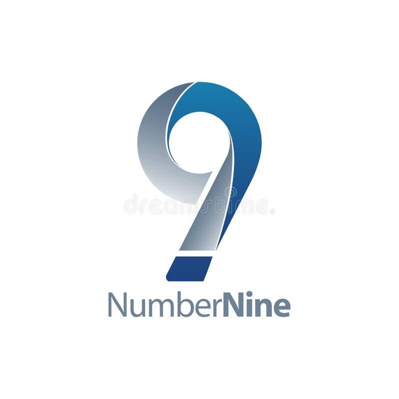 Moderne Nr. neun Konzeptentwurf mit 9 Logos Grafisches Schablonenelement des Symbols lizenzfreie abbildung