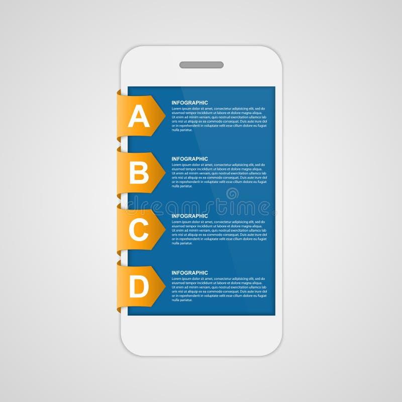 Moderne ontwerp creatieve sticker infographic met mobiele telefoon stock illustratie