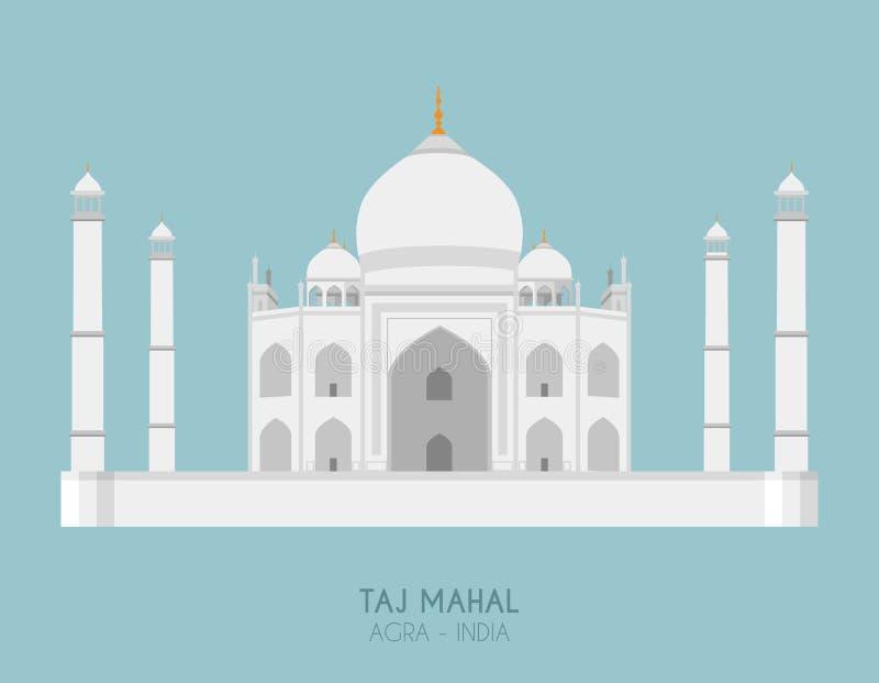 Moderne ontwerpaffiche met kleurrijke achtergrond van Taj Mahal Agra, India royalty-vrije illustratie