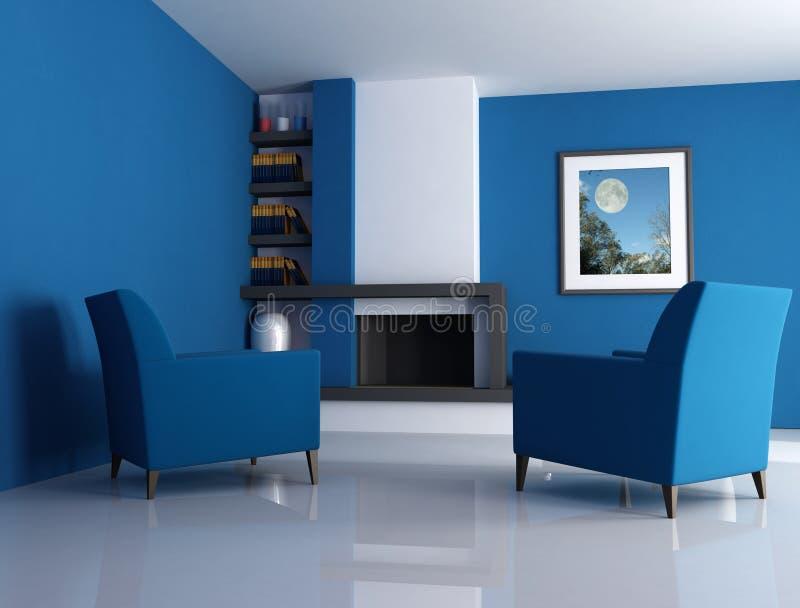 Moderne open haard blauwe versie royalty-vrije illustratie