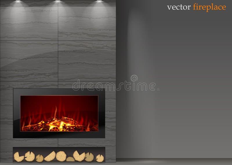 Moderne open haard met brand vector illustratie
