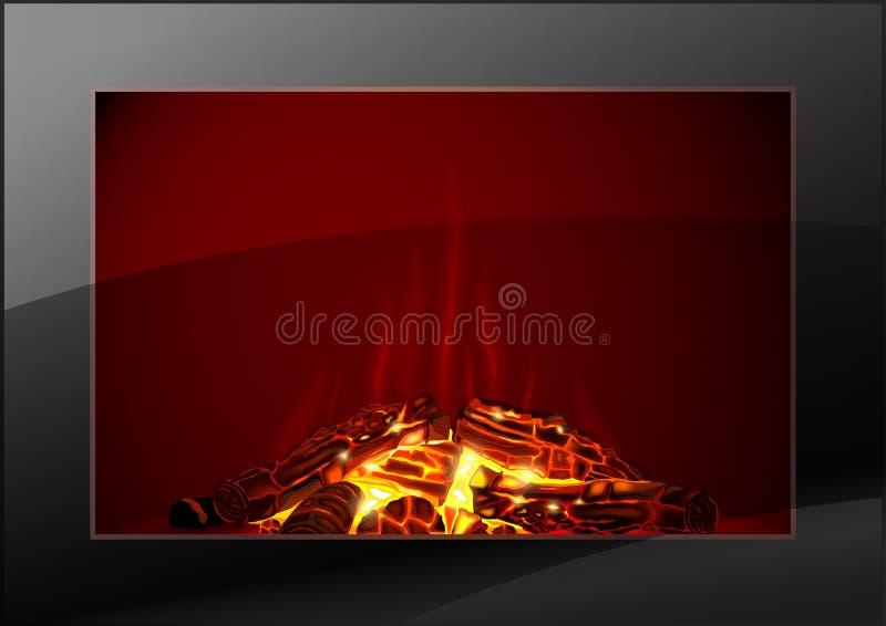 Moderne open haard met brand royalty-vrije illustratie