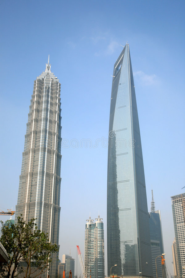 Moderne Oriëntatiepunten van Shanghai stock foto's