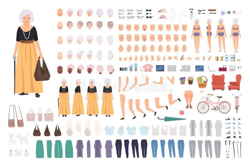Moderne oude vrouw of omaverwezenlijkingsreeks Inzameling van bejaarde dame` s lichaamsdelen, handgebaren, in geïsoleerde kleren royalty-vrije illustratie