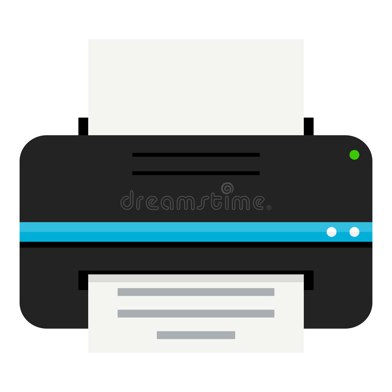 Moderne Printer Flat Icon Isolated op Wit royalty-vrije illustratie