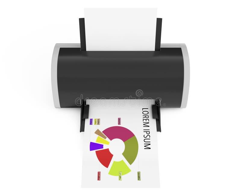 Moderne Printer Print Investment Chart het 3d teruggeven stock illustratie