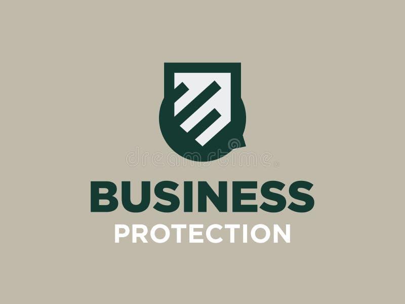 Moderne professionele vectorembleem bedrijfsbescherming in groen thema royalty-vrije illustratie