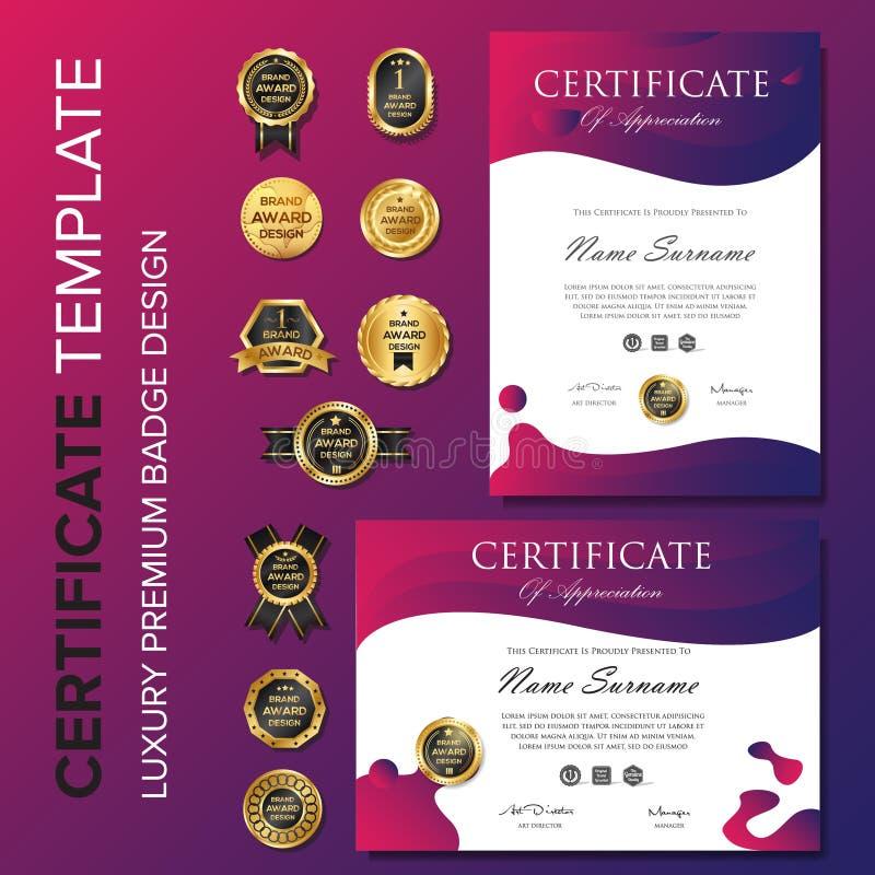 Moderne purpere certificaatachtergrond vector illustratie