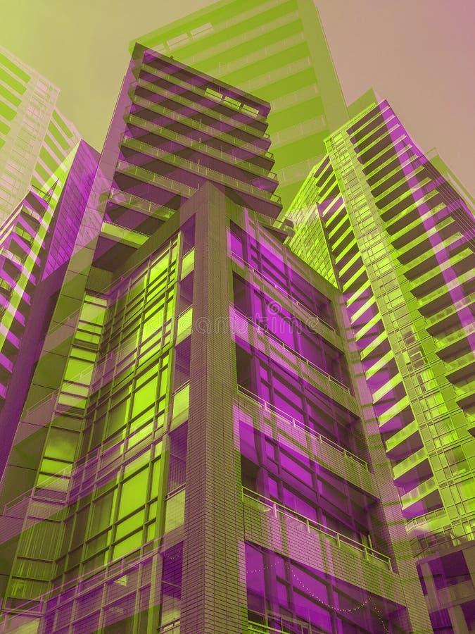 Moderne purpurrotes und grünes talll Wohngebäude gruppieren sich in der Großstadt lizenzfreie abbildung