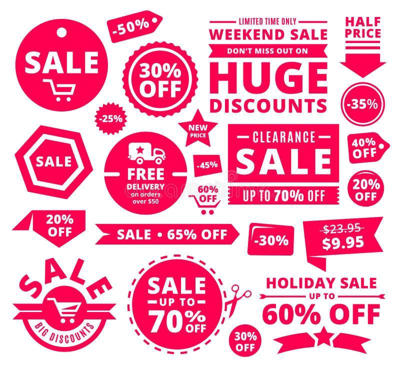 Moderne Rabatt-Verkaufs-Tags, Ausweise und Bänder stockfotos