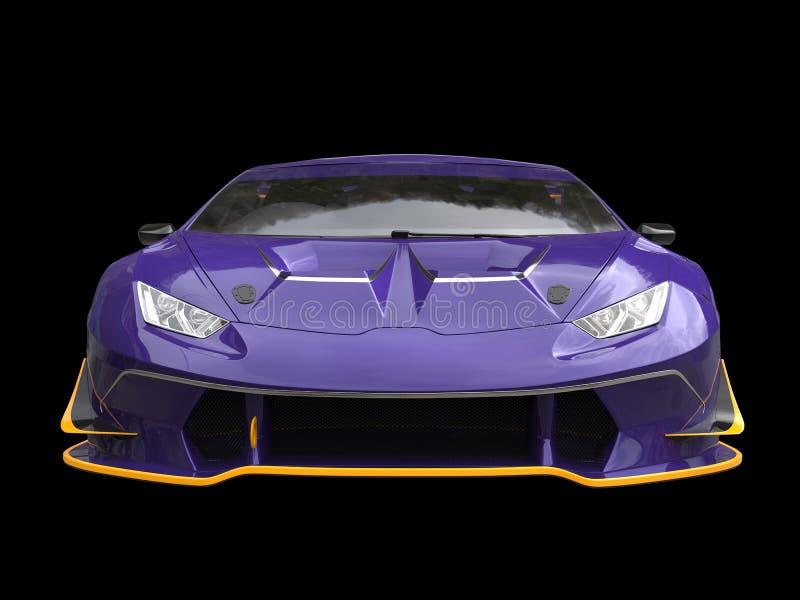 Moderne raceauto - indigoverfwerk met gele accenten royalty-vrije illustratie