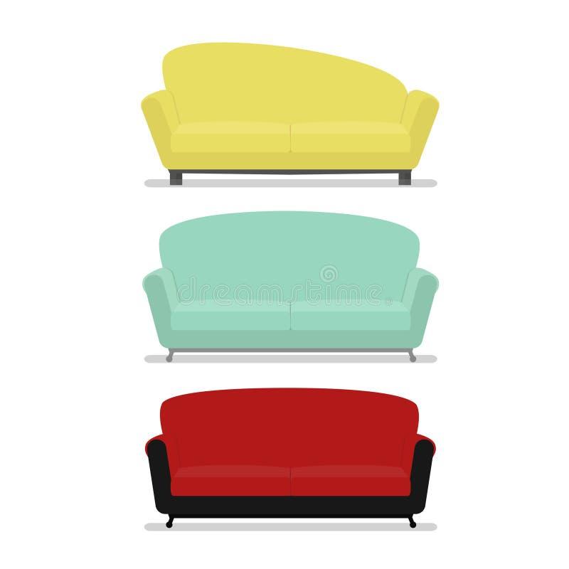 Moderne Reeks van comfortabel geïsoleerde bankmeubilair vector illustratie