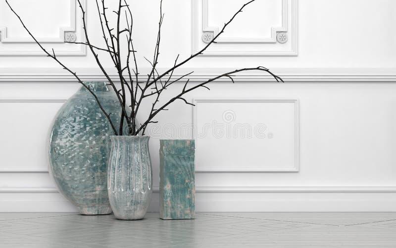 Moderne regeling van takjes in ceramische vazen vector illustratie