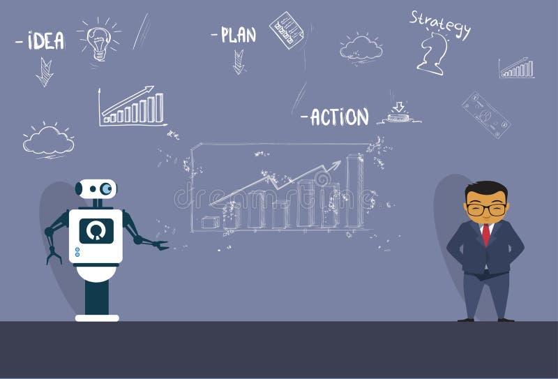 Moderne Robot die Nieuwe Strategie verklaren aan de Aziatische Bedrijfsmens tijdens de Grafiekenachtergrond van Vergaderingsskect vector illustratie