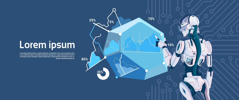Moderne Robotgreep die Grafisch Diagram, de Futuristische Technologie van het Kunstmatige intelligentiemechanisme laden royalty-vrije illustratie
