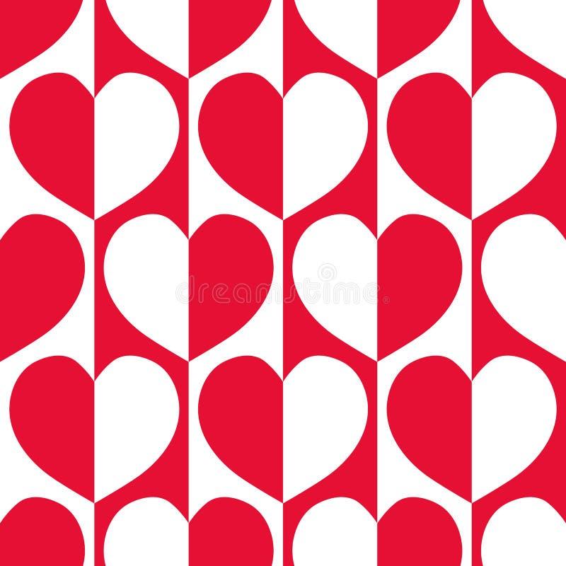 Moderne rode en witte weerspiegelde harten met jaren '60 vibe op gestreepte geometrische achtergrond als naadloos vectorpatroon stock illustratie