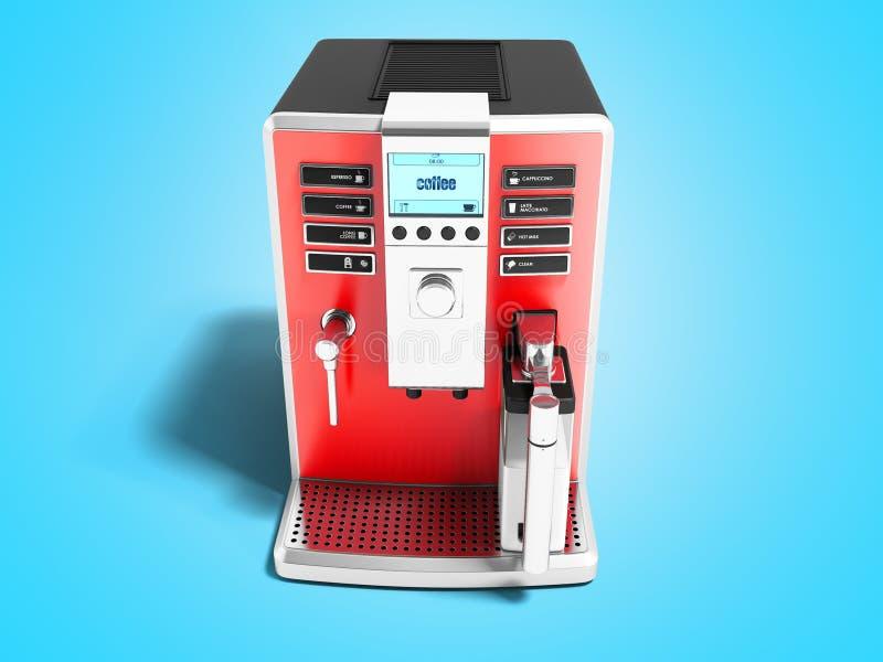 Moderne rode koffiemachine met melkautomaat op één kopvoorzijde v stock illustratie