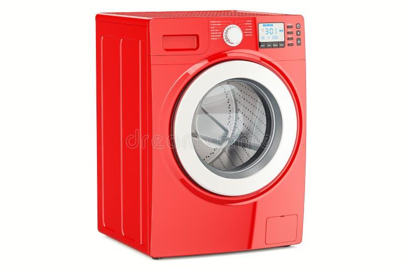 Moderne rode wasmachine, het 3D teruggeven vector illustratie