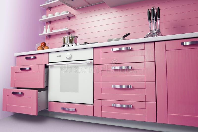 Moderne rosa Küche stockbild. Bild von raum, tabelle - 38687051