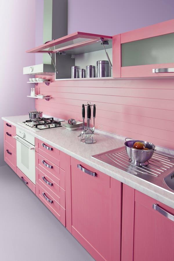 Moderne rosa Küche stockfoto. Bild von kochen, schemel - 38687096