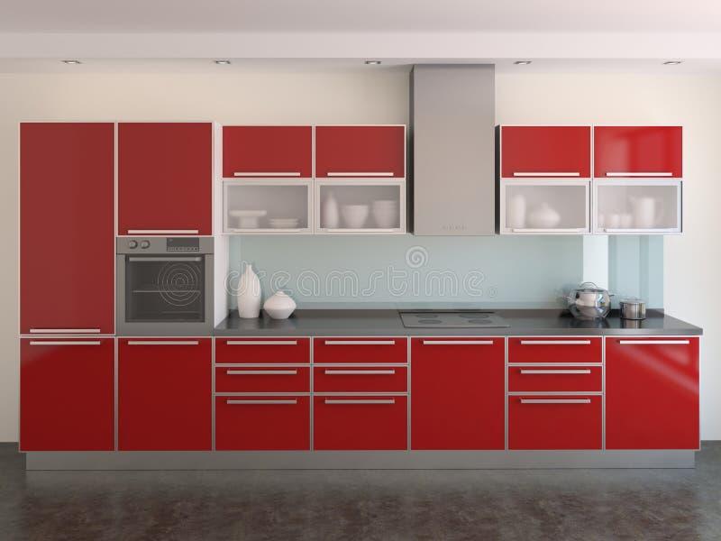Moderne Rote Küche Stockfoto. Bild Von Nahrung, Real - 13796814