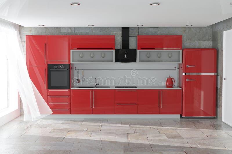 Moderne rote Küchen-Möbel mit Küchengeschirr-Innenraum Wiedergabe 3d lizenzfreie stockfotografie