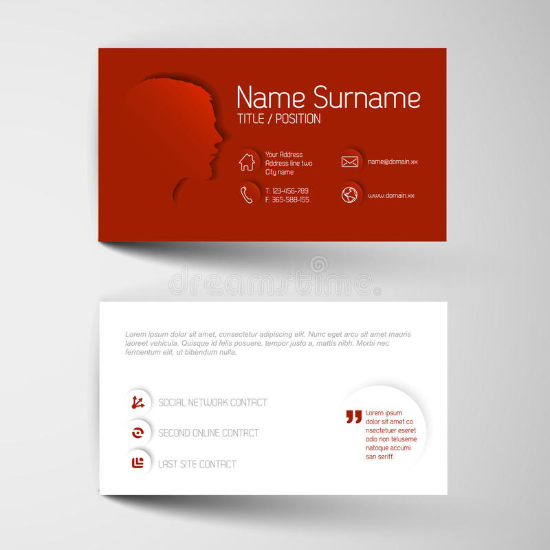 Moderne rote Visitenkarteschablone mit flacher Benutzerschnittstelle stock abbildung