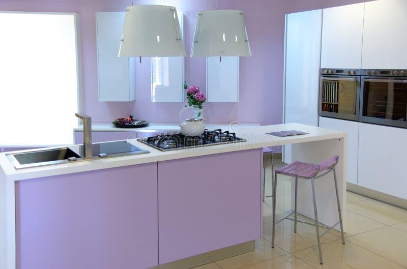 Moderne roze keuken royalty-vrije stock afbeelding