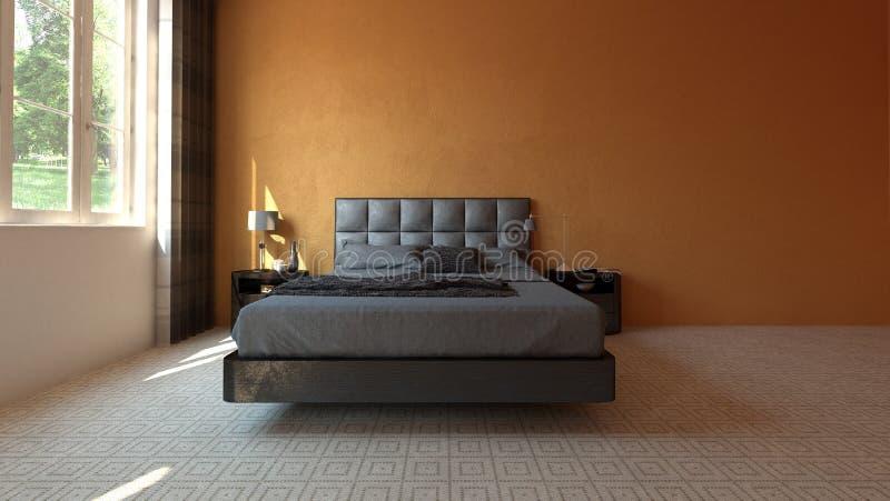Moderne Ruime Slaapkamer Met Oranje Muur Stock Illustratie ...