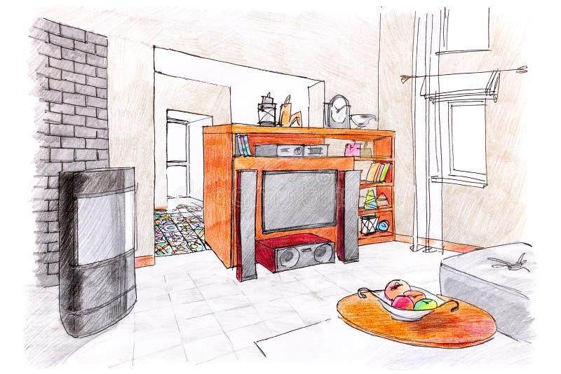 Moderne ruimte binnenlandse schets de hand schilderde grafische schets van Li vector illustratie
