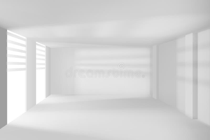 Moderne ruimte met witte lege muren en vensters HI-TECH ruimte Vectorillustratie royalty-vrije illustratie