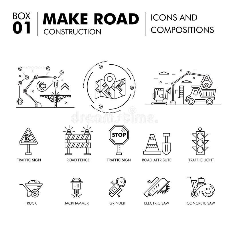 Moderne samenstellingen die het blok F bouwen van de wegenbouw dun lijn stock afbeelding