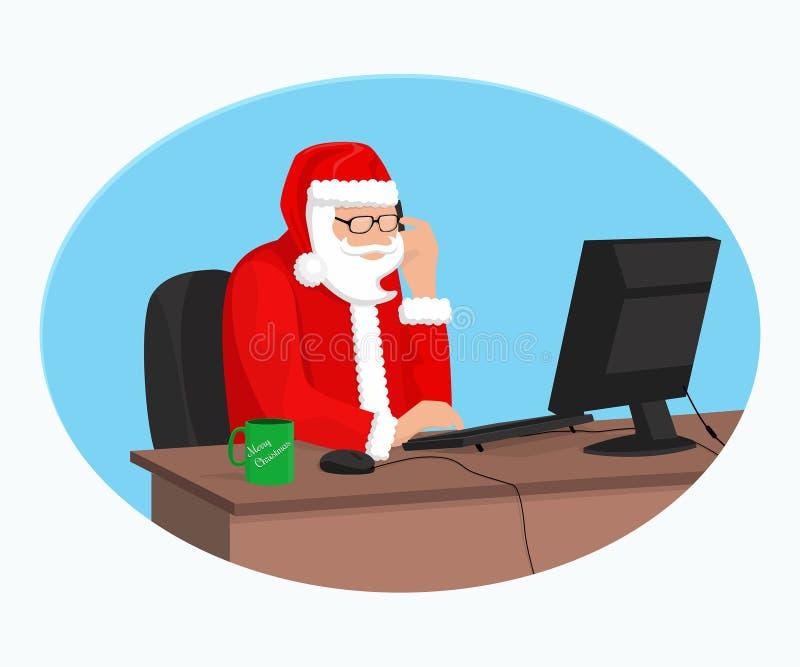 Moderne Santa Claus werkt bij de computer royalty-vrije illustratie