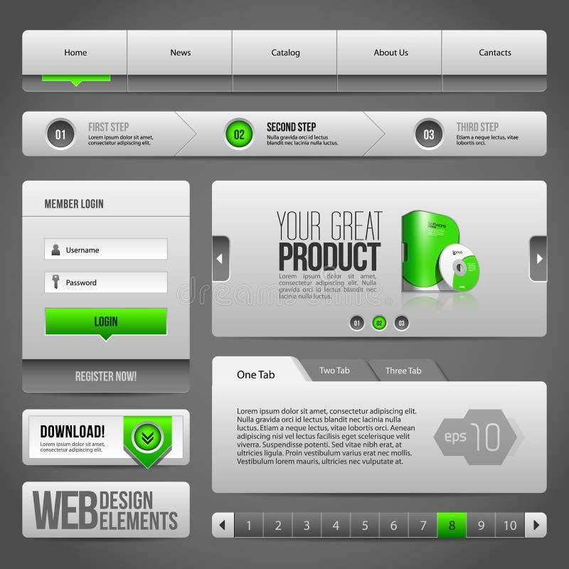 Moderne saubere Website-Gestaltungselemente Grey Green Gray stock abbildung