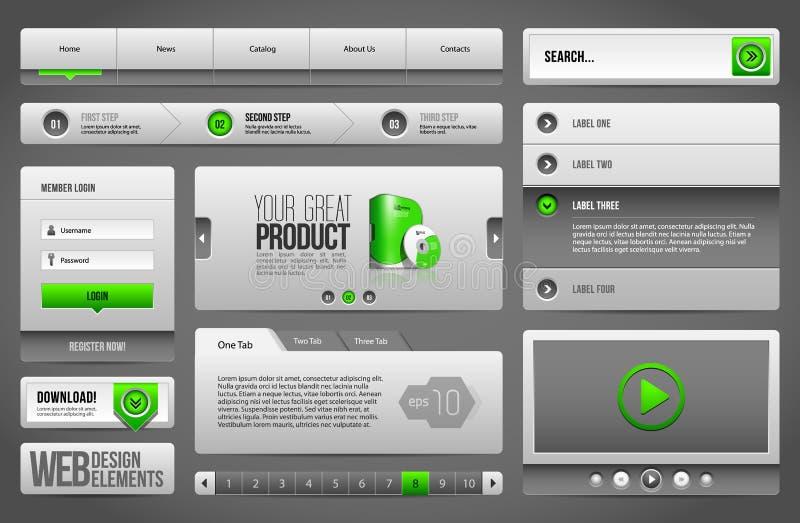 Moderne saubere Website-Gestaltungselemente Grey Green Gray: Knöpfe, Form, Schieber, Rolle, Karussell lizenzfreie abbildung