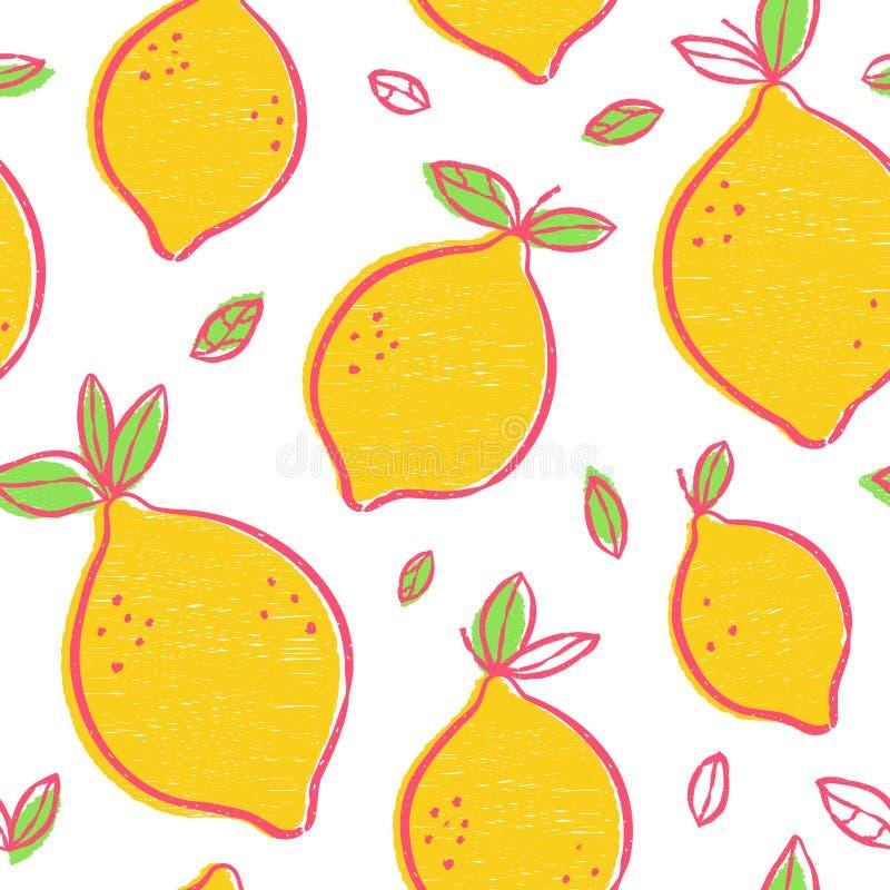 Moderne Schönheit Frash-Zitronen nahtlos stock abbildung